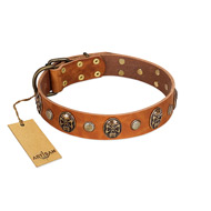"""Call of Feat"" FDT Artisan Tan Leather Siberian Husky Collar with Old Bronze-like Studs and Oval Brooches"