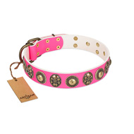 """Two Extremes"" FDT Artisan Pink Leather Siberian Husky Collar with Elegant Conchos and Medallions with Skulls"