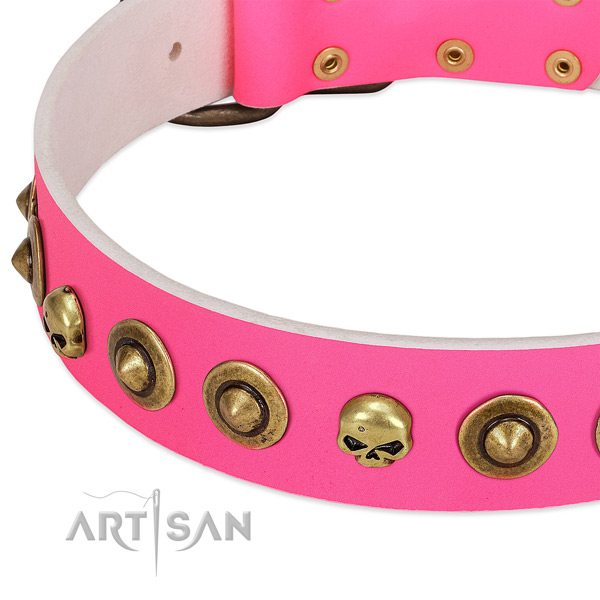 Incredible decorations on full grain natural leather collar for your canine