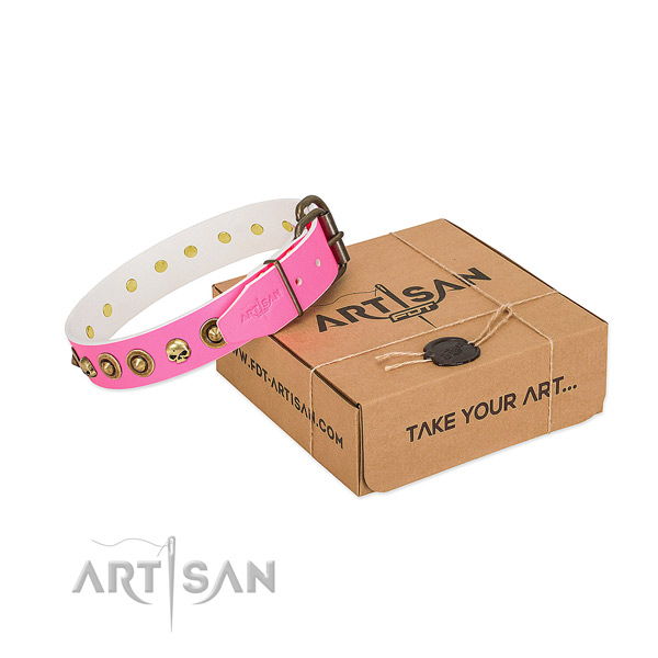 Leather collar with exceptional embellishments for your canine