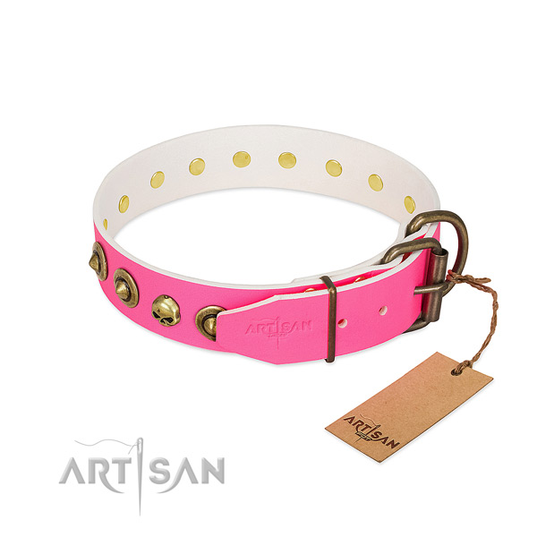Natural leather collar with top notch studs for your canine