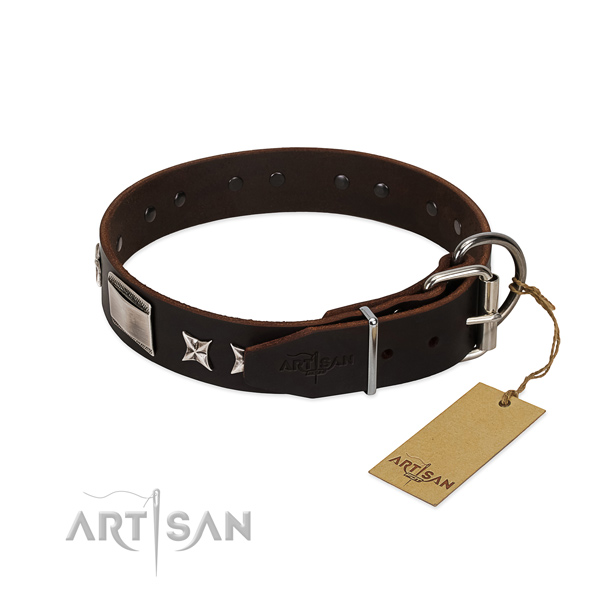 Exquisite collar of full grain leather for your beautiful doggie