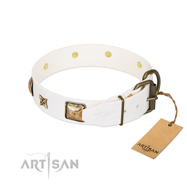 Natural genuine leather dog collar with strong traditional buckle and adornments