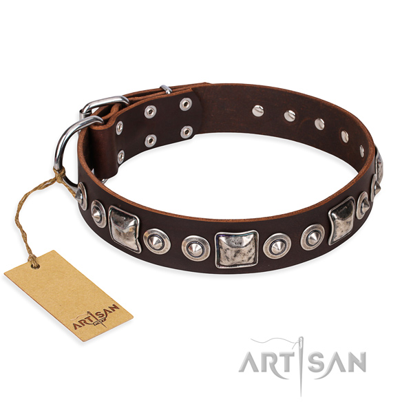 Leather dog collar made of best quality material with rust resistant hardware