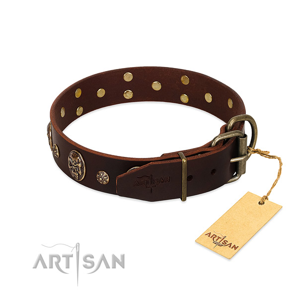 Rust-proof D-ring on genuine leather dog collar for your pet