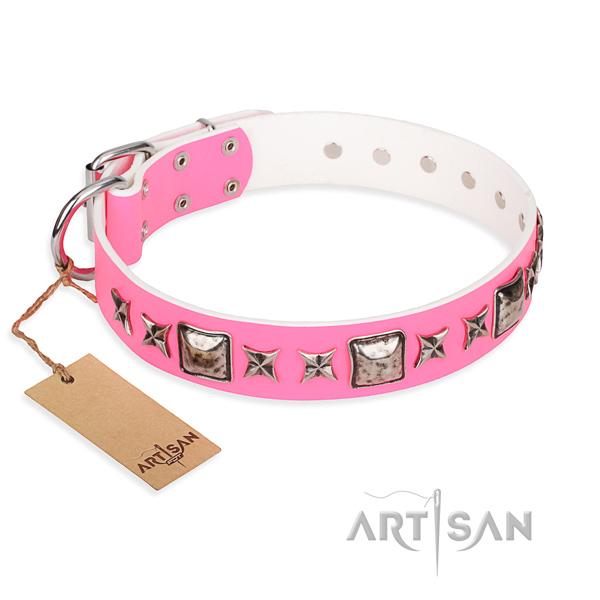 Full grain leather dog collar made of soft to touch material with reliable hardware