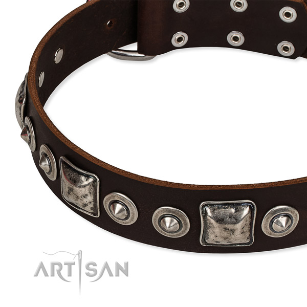 Genuine leather dog collar made of soft material with embellishments