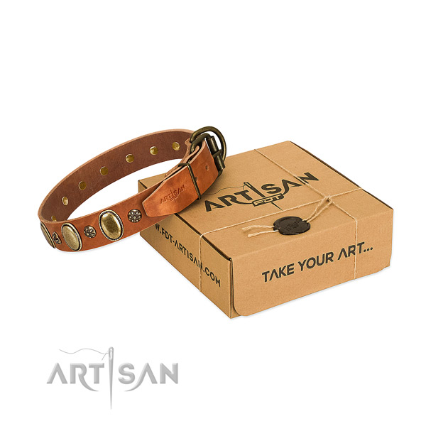 Handy use top notch full grain genuine leather dog collar with adornments