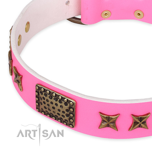 Full grain genuine leather collar with corrosion resistant traditional buckle for your attractive doggie