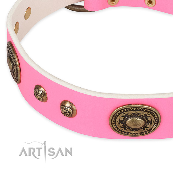 Adjustable genuine leather collar for your stylish four-legged friend