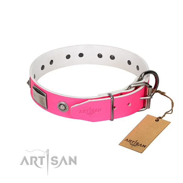 Easy wearing dog collar of full grain leather with studs