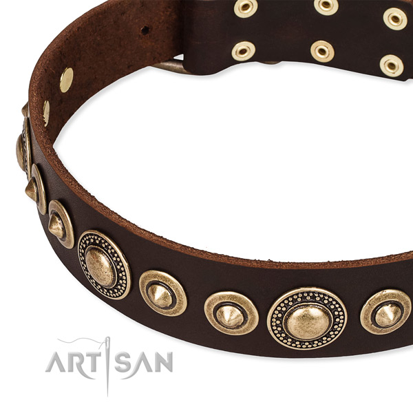 Flexible full grain leather dog collar made for your beautiful dog