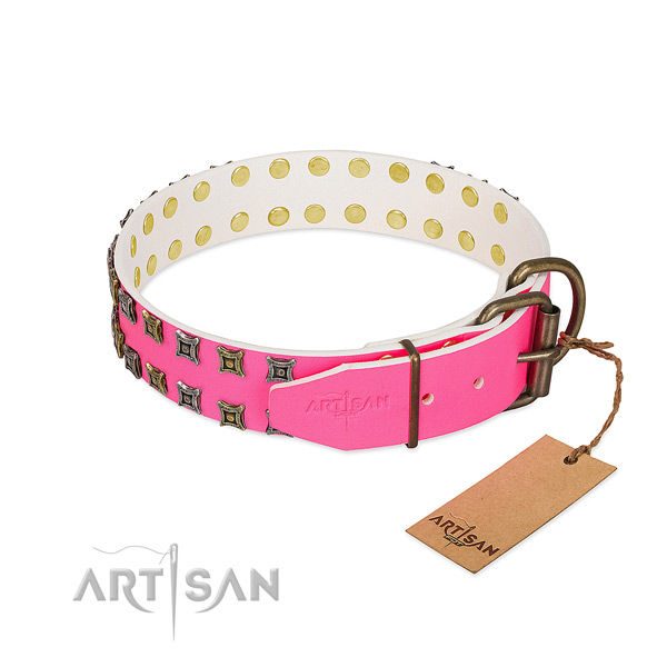 Full grain natural leather collar with inimitable embellishments for your pet