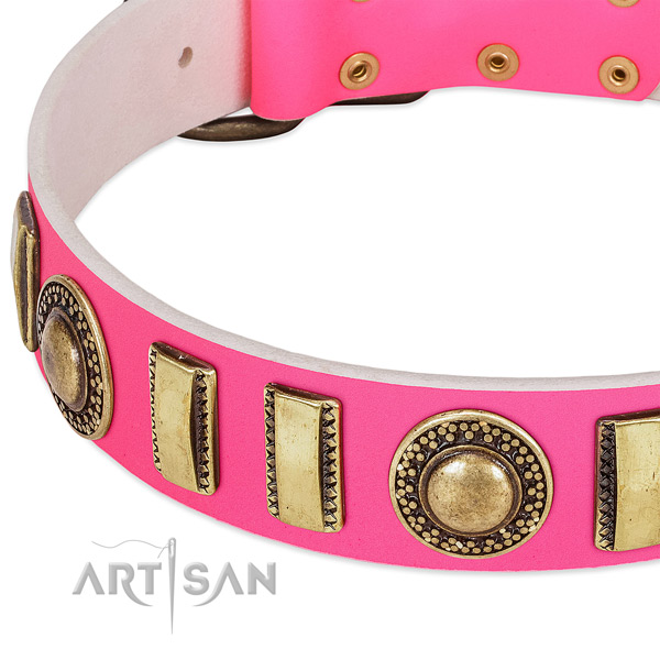 Soft to touch full grain leather dog collar for your attractive dog