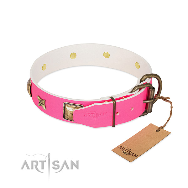 Rust resistant hardware on full grain genuine leather collar for walking your canine