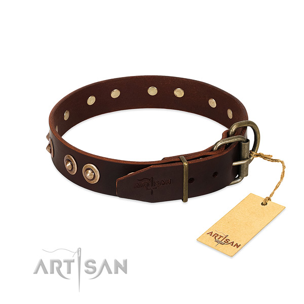 Strong traditional buckle on genuine leather dog collar for your pet