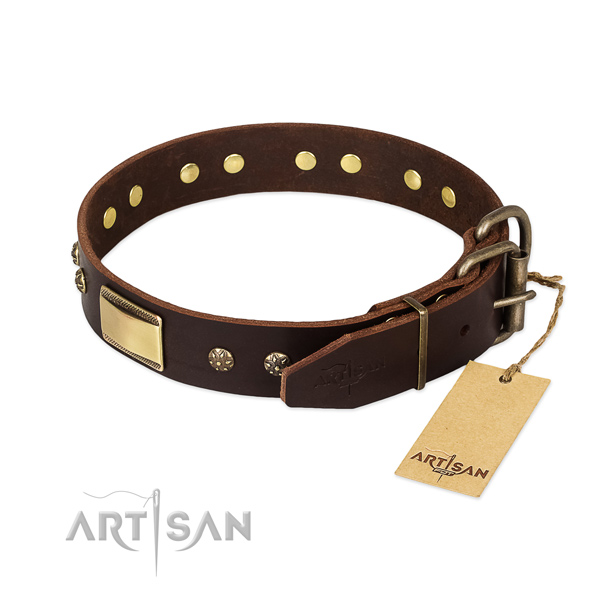 Top notch full grain leather collar for your doggie