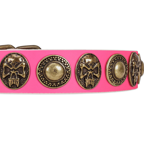 Durable buckle on genuine leather dog collar for your four-legged friend