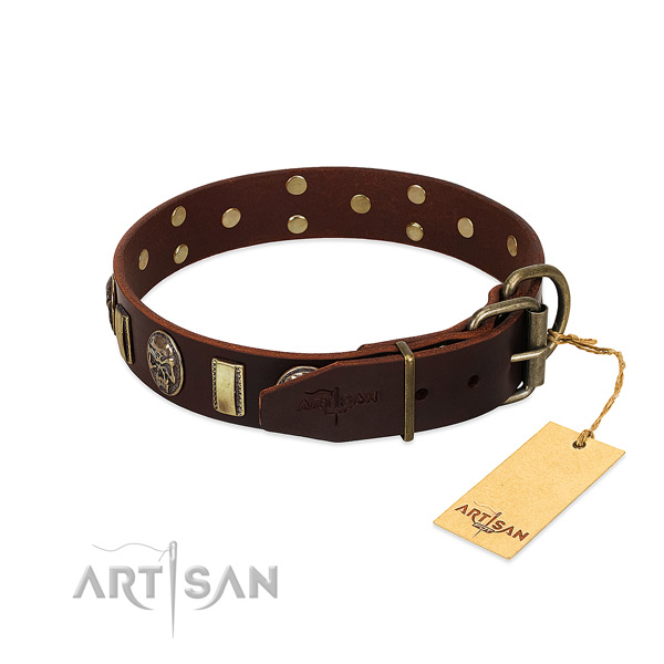 Genuine leather dog collar with corrosion resistant traditional buckle and decorations