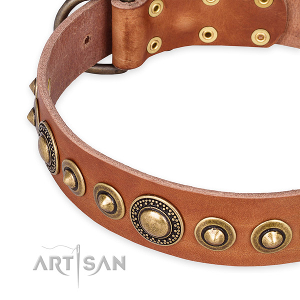 High quality natural genuine leather dog collar handmade for your lovely dog