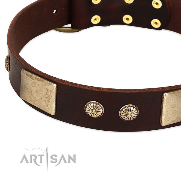 Rust resistant hardware on full grain genuine leather dog collar for your four-legged friend