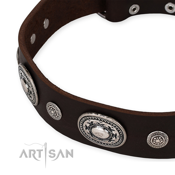 Gentle to touch full grain genuine leather dog collar created for your impressive dog