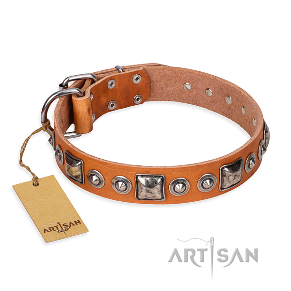 Leather dog collar made of quality material with corrosion proof buckle
