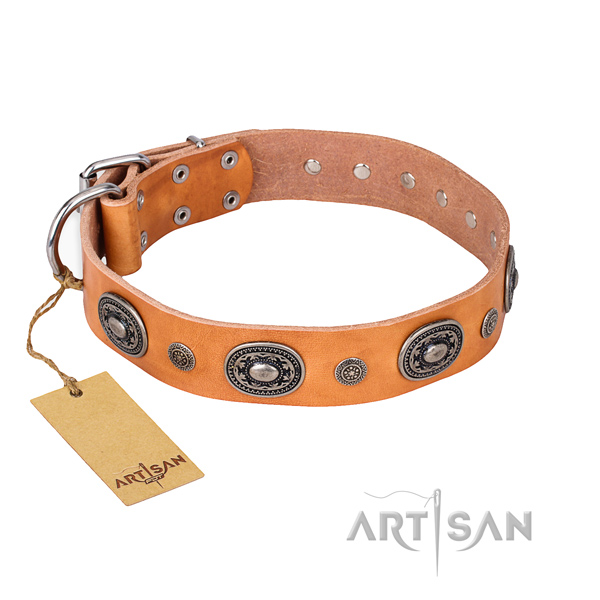 Quality full grain natural leather collar made for your four-legged friend