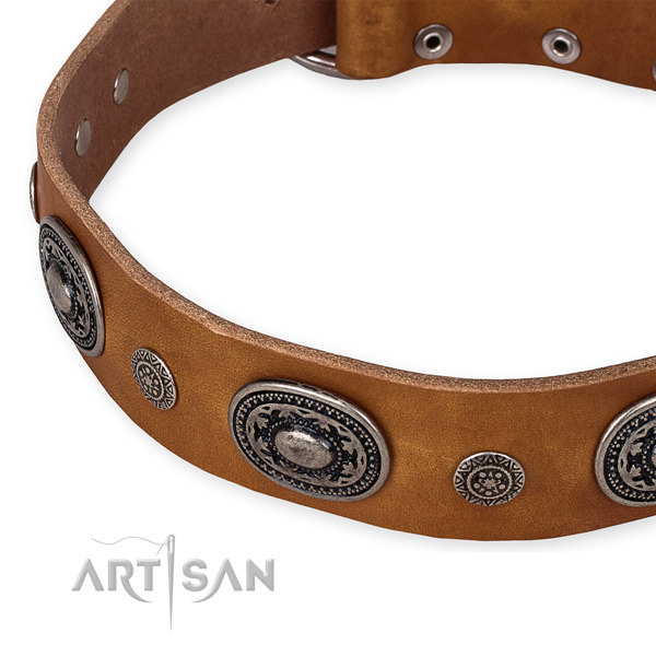 Top rate full grain genuine leather dog collar created for your handsome doggie