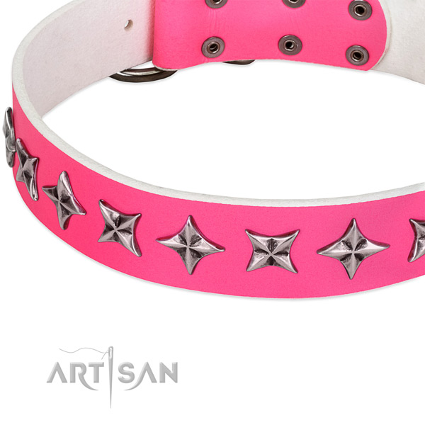 Easy wearing studded dog collar of finest quality full grain natural leather