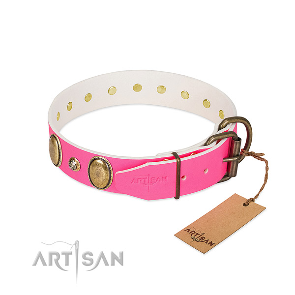 Handy use top rate leather dog collar