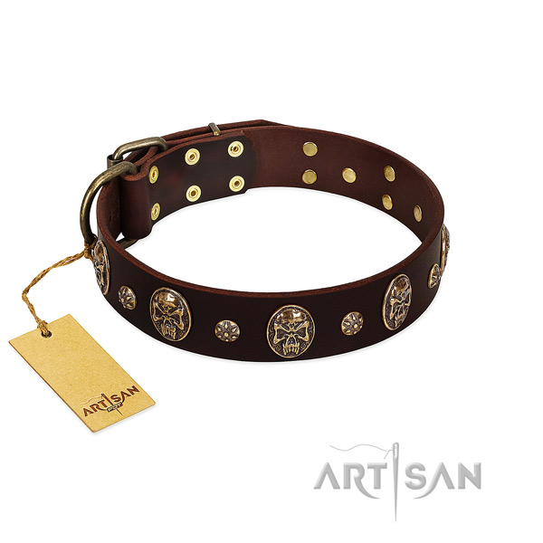Handmade full grain genuine leather collar for your doggie