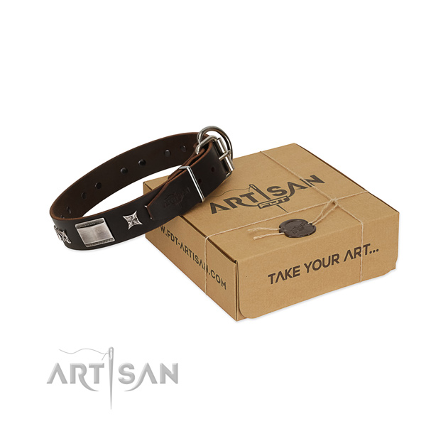 Adjustable collar of genuine leather for your attractive pet