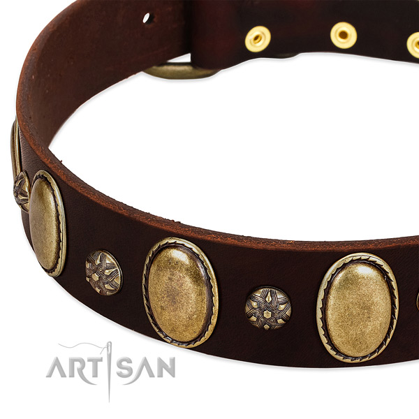 Comfy wearing soft leather dog collar