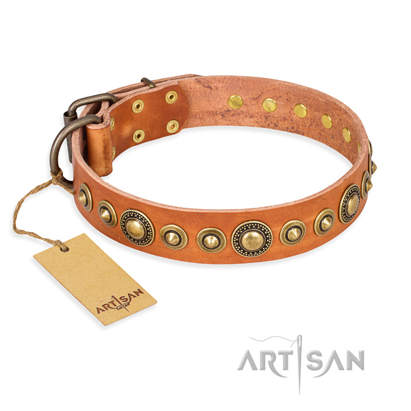 Soft full grain genuine leather collar crafted for your four-legged friend