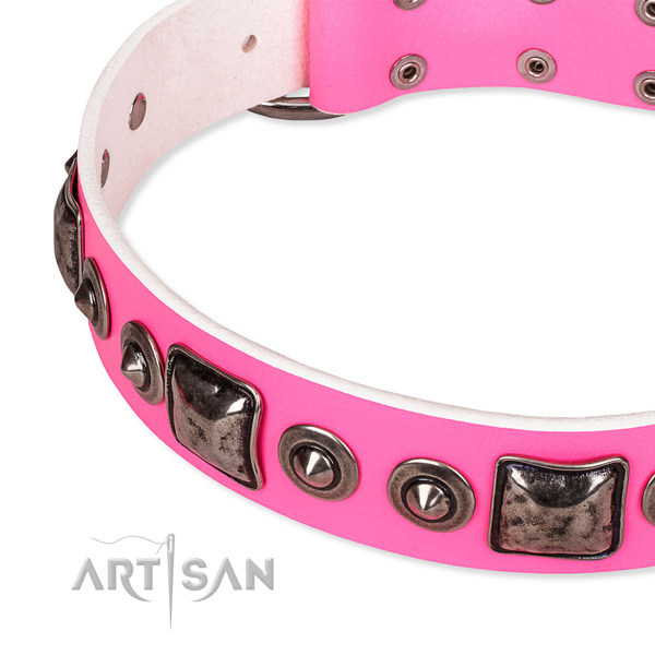 Quality natural genuine leather dog collar handmade for your beautiful pet