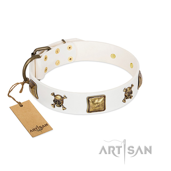 Awesome full grain leather dog collar with durable studs