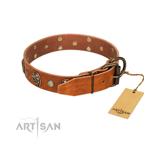 Rust-proof D-ring on natural genuine leather collar for basic training your doggie