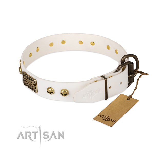 Adjustable natural leather dog collar for daily walking your pet