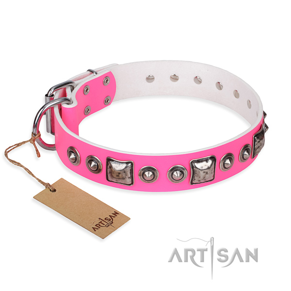 Full grain leather dog collar made of top rate material with reliable hardware