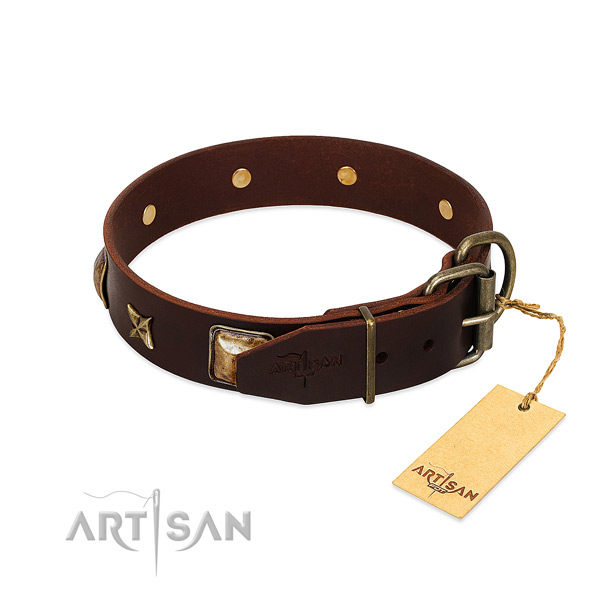 Genuine leather dog collar with corrosion proof hardware and decorations