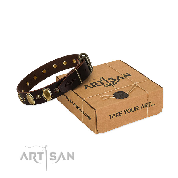 Comfy wearing best quality full grain natural leather dog collar with adornments
