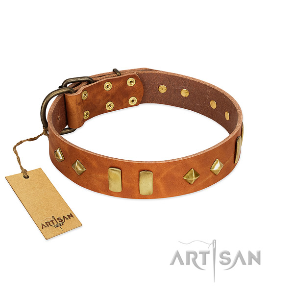 Easy wearing soft to touch genuine leather dog collar with studs