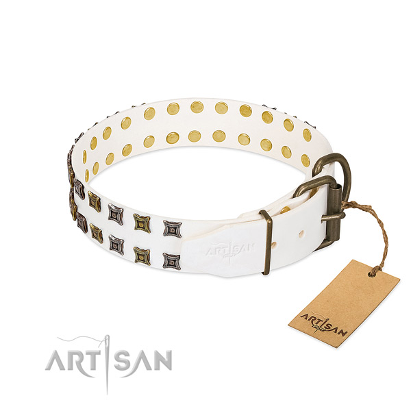Natural leather collar with stunning decorations for your dog