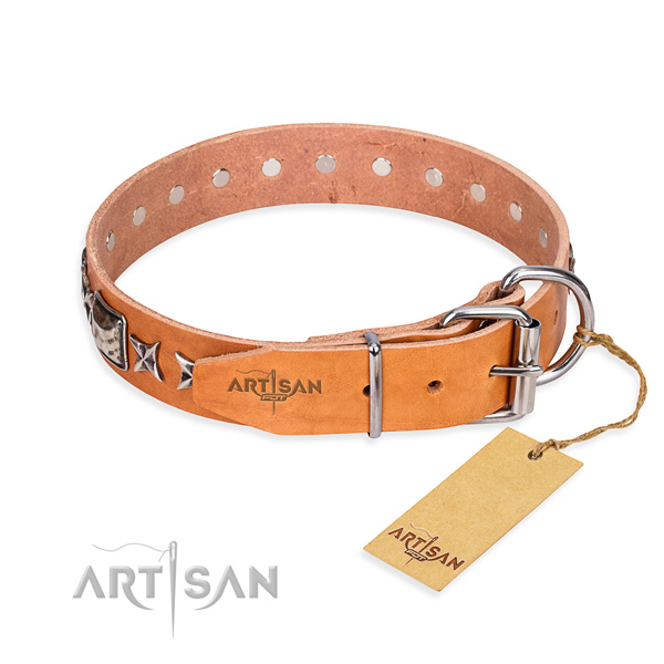 Best quality adorned dog collar of genuine leather