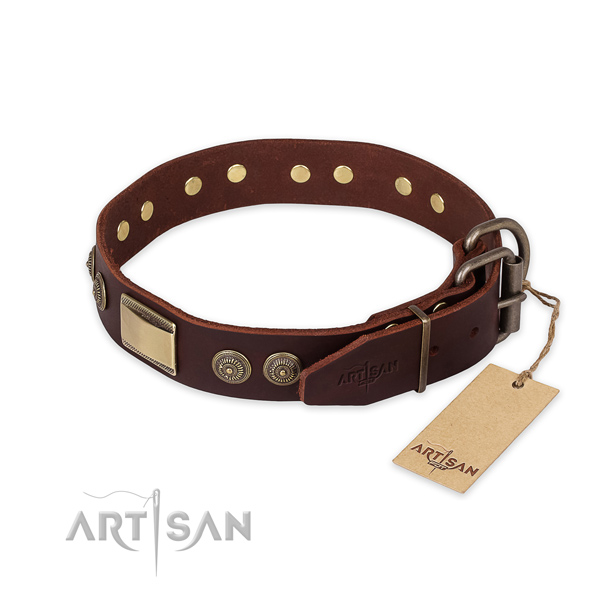 Corrosion resistant hardware on natural genuine leather collar for walking your pet