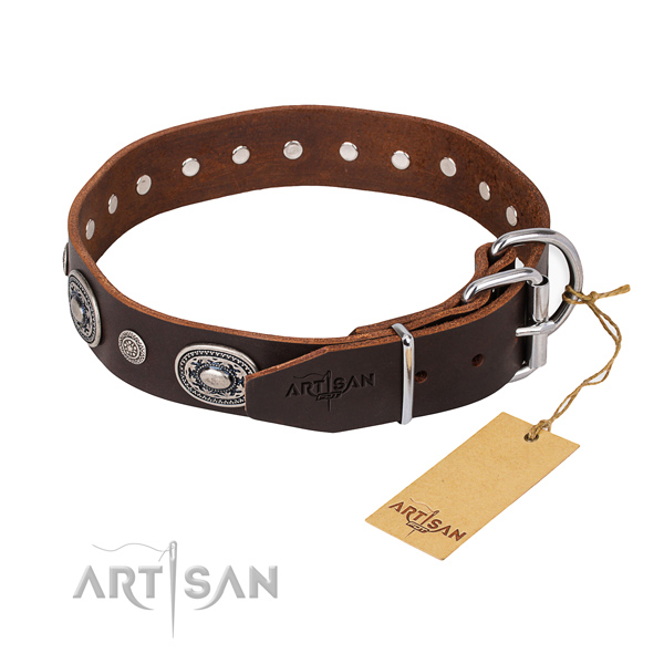 Top notch leather dog collar handcrafted for daily walking
