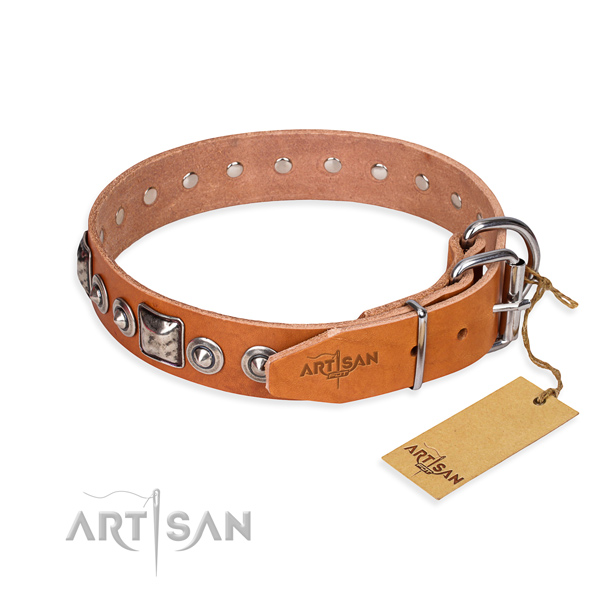 Natural genuine leather dog collar made of best quality material with strong embellishments