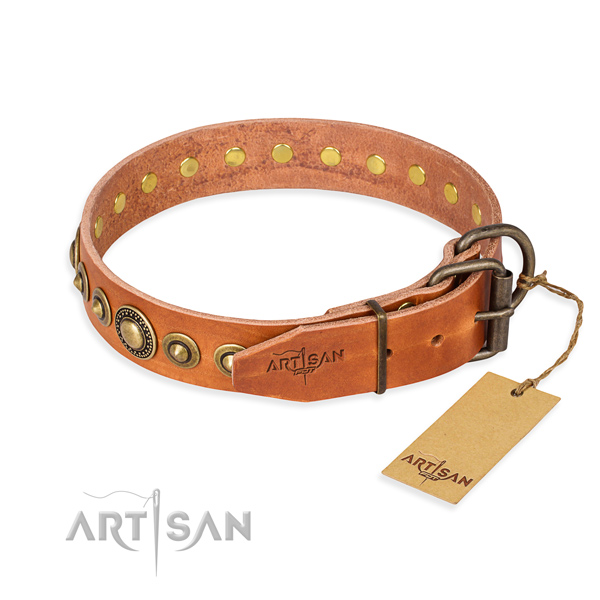 Best quality genuine leather dog collar created for walking