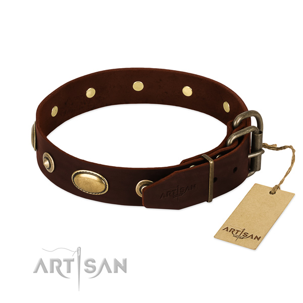 Reliable D-ring on natural leather dog collar for your dog